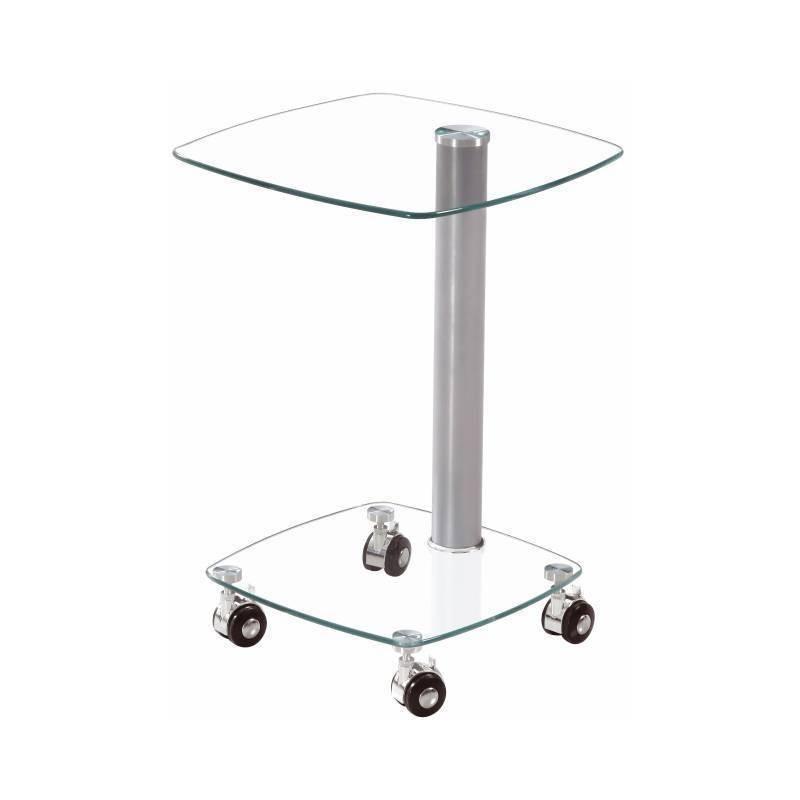 Mesita auxiliar con ruedas y cristal trasparente