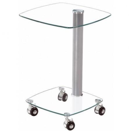 Mesita, mesa auxiliar de cristal con ruedas de 35x35cm y 50cm de alto ligera y funcional