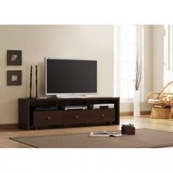 Mueble TV de 3 cajones en wengué de 180 cm.