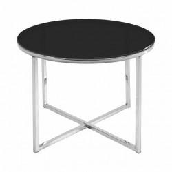 Mesa auxiliar redonda en cristal negro y cromo de 55 cm de diámetro