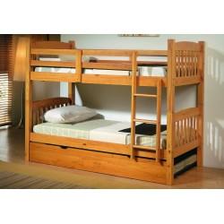 Litera de pino color miel con arrastre cama