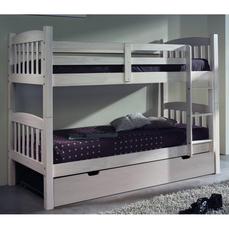 Litera de pino blanqueado con cama inferior