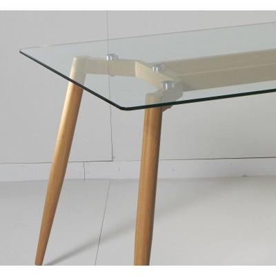 Mesa de comedor de cristal rectangular de 150x90 cm con pata color madera natural moderna de dise o - Mesas de estudio de cristal ...