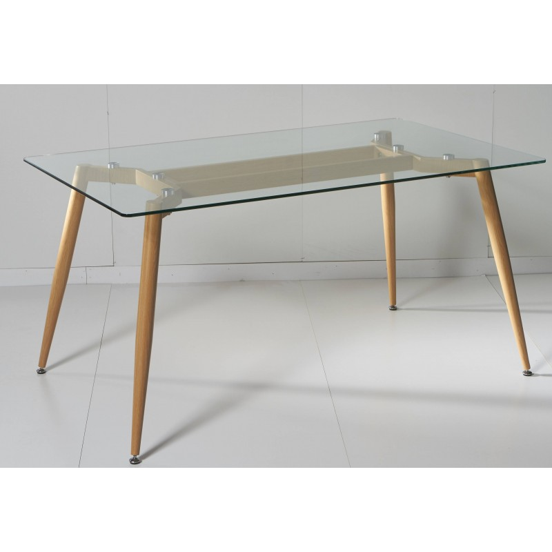 Mesa de comedor de cristal rectangular de 150x90 cm con pata color ...