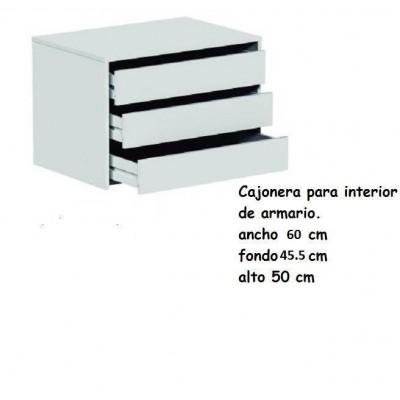 Cajonera blanca para interior de armario de 60 cm - Cajoneras para armario ...