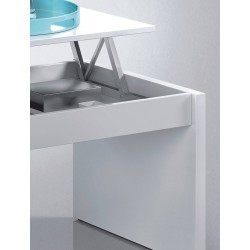 Mesa de centro elevable blanco brillo de 100x50 cm