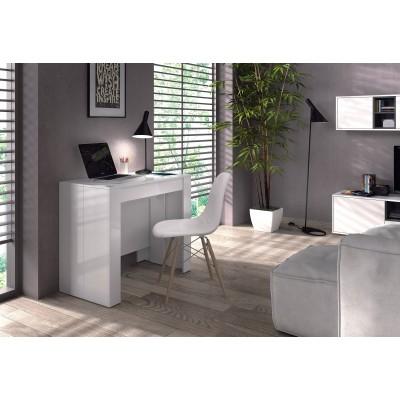 Consola mesa de comedor extensible blanco brillo desde 50 cm hasta 236 cm - Mesa comedor blanca extensible ...