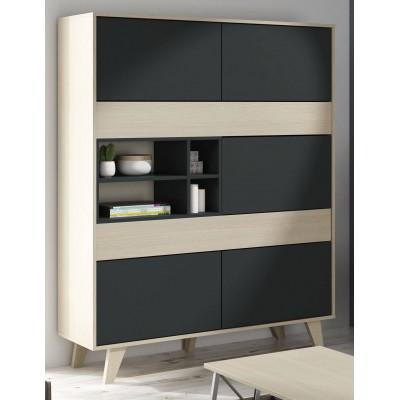 Mueble sal n contenedor color roble natural y gris - Mueble salon gris ...