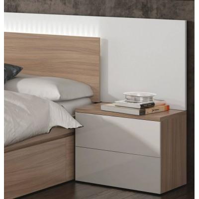 Dormitorio de matrimonio en blanco brillo y madera con led for Conjunto dormitorio matrimonio baratos