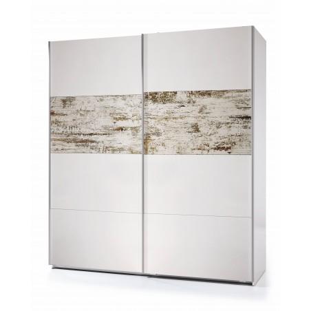 Armario de puertas correderas blanco brillo y acabado vintage 180 x 63 cm y 200 cm de alto