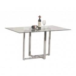 Mesa de comedor de cristal  de 140x90 cm y pata central cromo brillo