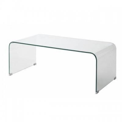 mesa centro cristal doblado transparente