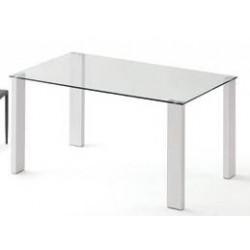Mesa recta cristal y patas de aluminio