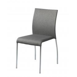 Silla tapizada gris con pata cromada