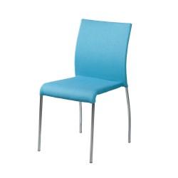 Silla tapizada color azul cielo con pata cromada
