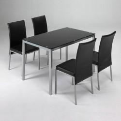 Comedor completo con mesa y cuatro sillas con mesa de metal y cristal de 140x80 cm y cuatro sillas en negro