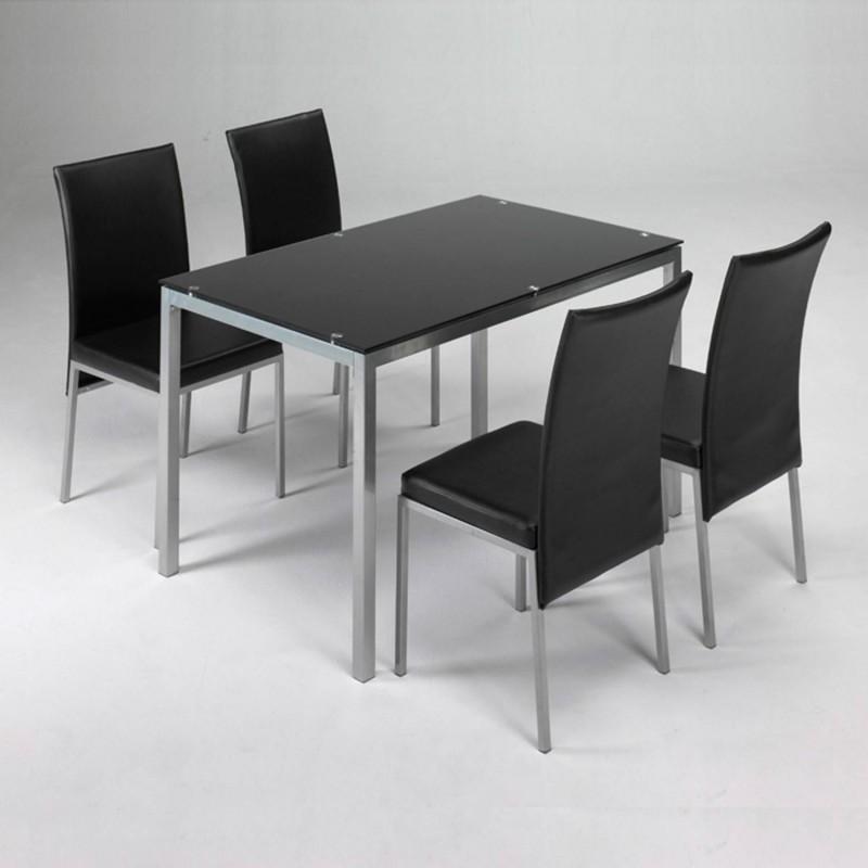 Mesa, conjunto mesa + 4 sillas negro