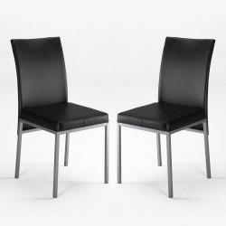 Sillas de cocina o comedor negras en polipiel DOS UNIDADES cómodas y modernas