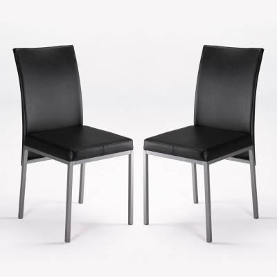 Sillas de cocina o comedor negras en polipiel dos unidades for Sillas de cocina modernas