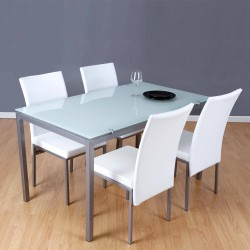 Comedor completo con mesa y cuatro sillas con mesa de metal y cristal de 140x80 cm y cuatro sillas en blanco