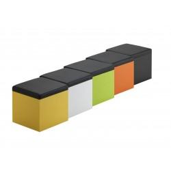 Puf revistero, color amarillo con tapa de polipiel de 5 cm de 37x37 y 38 cm de alto