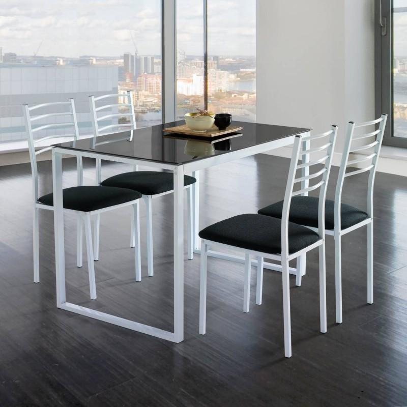 Conjunto mesa de cocina + 4 sillas  cristal negro