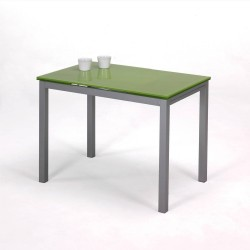 Mesa de cocina de cristal verde con alas extensibles.