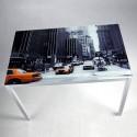 Mesa de cristal serigrafiado New york de 110x70