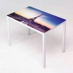 Mesa de 110x70 cm con cristal templado serigrafiado con foto de PARIS
