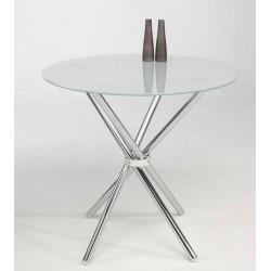 Mesa redonda de cristal translúcido de 80 cm de diámetro con base metálica,
