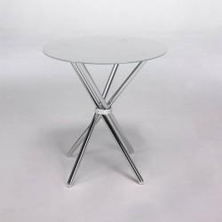 Mesa redonda de cristal traslucido de 100 cm de diámetro con base metálica,