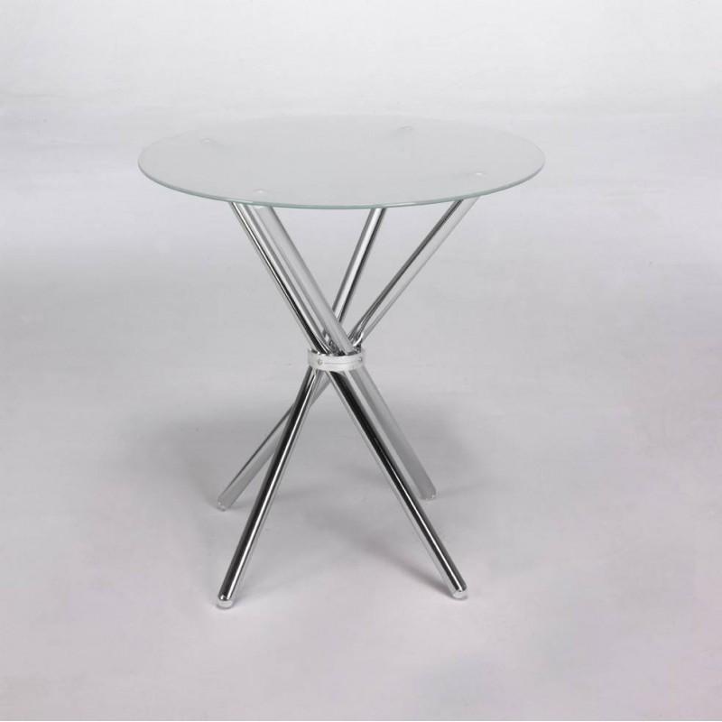Mesa redonda de cristal traslúcido de 100 cm.