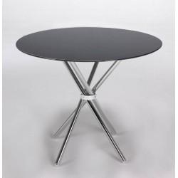 Mesa redonda de cristal negro de 80 cm de diámetro con base metálica,