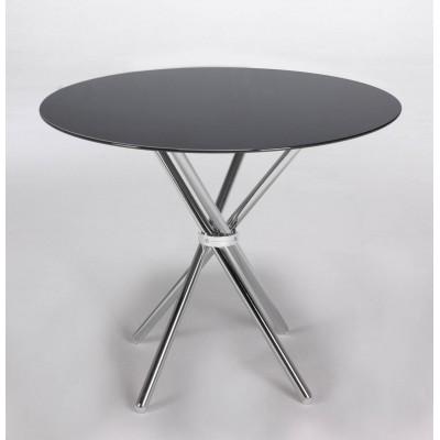 Mesa redonda cristal negro  de 80 cm.