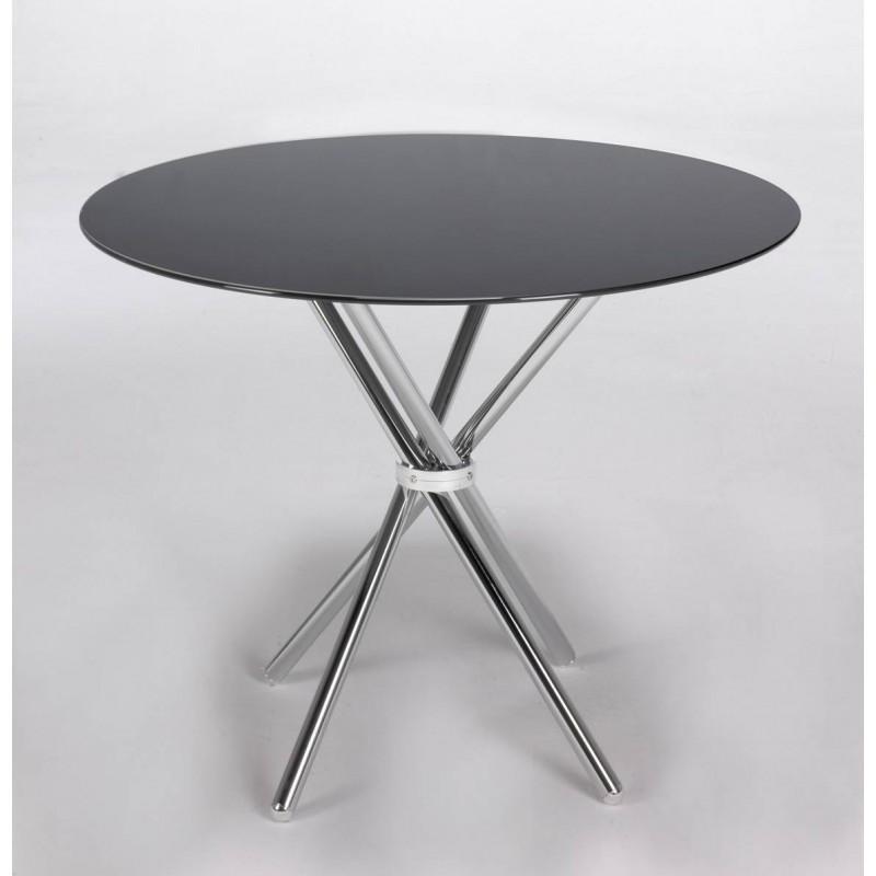Mesa redonda de cristal negro de 100 cm.