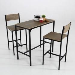 Mesa y taburetes altos en madera natural y hierro set completo