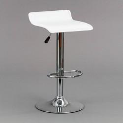 Taburete elevable blanco con asiento en polipiel blanca , sistema hidráulico.
