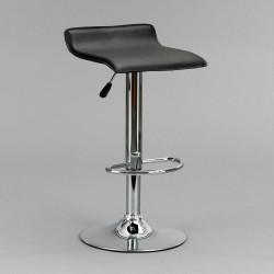 Taburete elevable negro con asiento en polipiel blanca , sistema hidráulico.