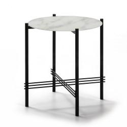 Mesa rincón de Cristal-Mármol Blanco-Metal de 47 cm.