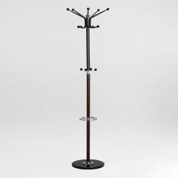 Perchero negro de pie con paraguero y colgadores dobles , diseño atemporal