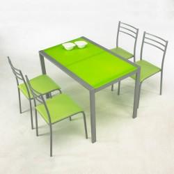 Conjunto de mesa cristal y 4 sillas en color Verde
