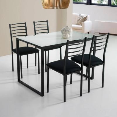 Conjunto de mesa de cocina + 4 sillas  cristal blanco