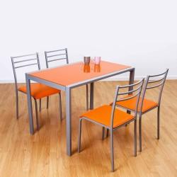 Mesa y sillas de cocina en color naranja con estructura metálica de 110x70