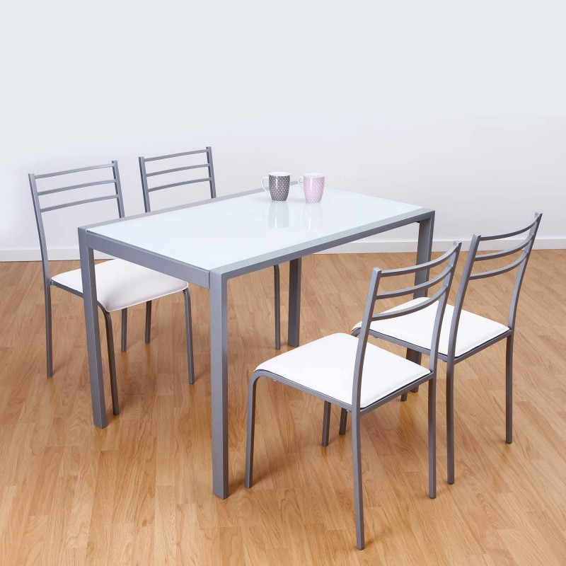 Conjunto de mesa y 4 sillas en color blanco