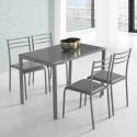 Conjunto de mesa y 4 sillas en color gris