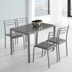 Mesa y sillas de cocina en color GRIS con estructura metálica de 110x70