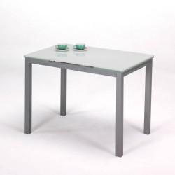 Mesa de cocina de cristal blanco con alas extensibles.