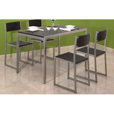 Mesa y cuatro sillas de cocina fijas en color wengu con - Mesas color wengue ...