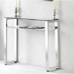 Recibidor cristal  tralúcido y estante en simil cuero blanco , estructura cromada 90cm de ancho y 30cm de fondo