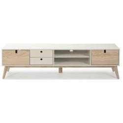 Mueble TV Clara 2 puertas 2 cajones Blanco / Natural de 180 cm.